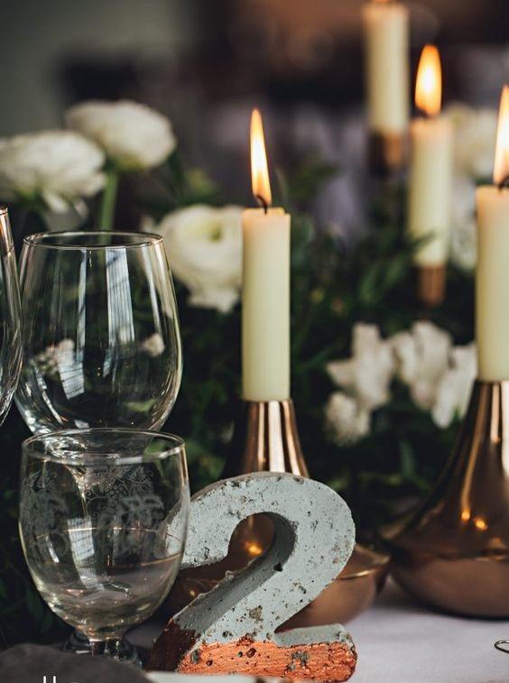 concrete wedding ideas - table number