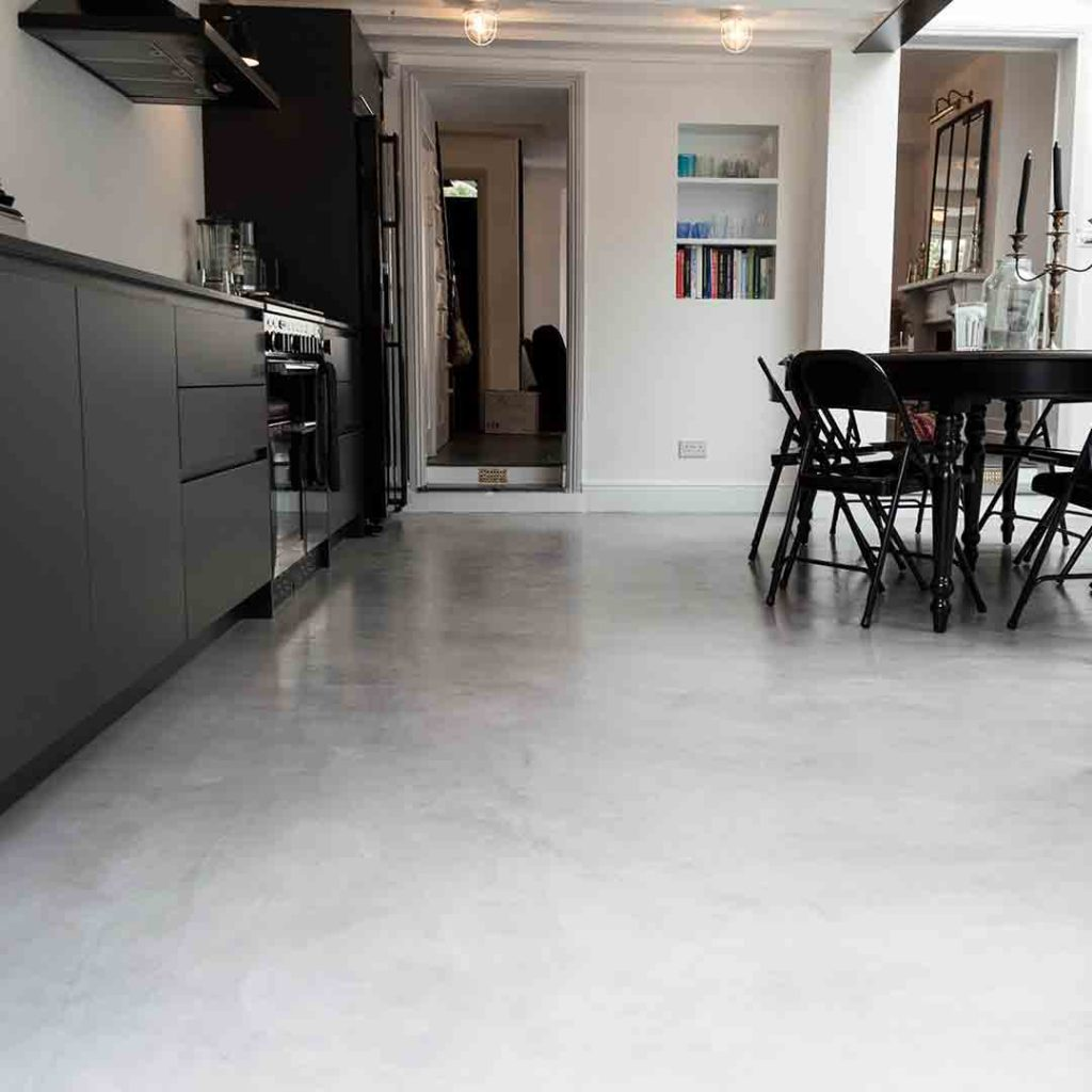 microcement floor in a kitchen