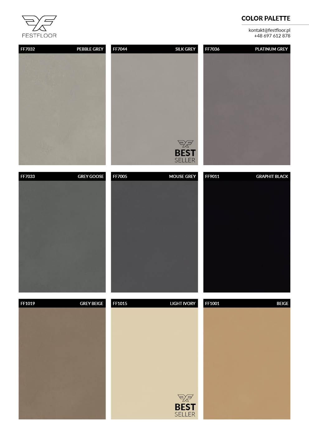 Kolory mikrocementu. Paleta kolorów wzorowana na RAL